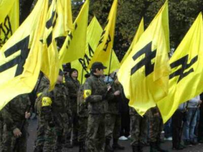 Azov Battalion using Waffen SS Das Reich Division insignia